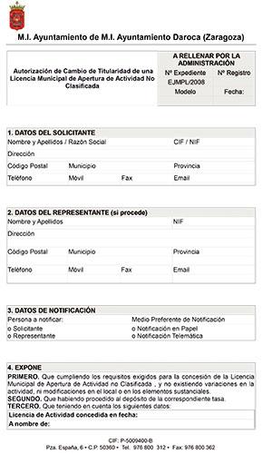 Autorización de Cambio de Titularidad de una Licencia Municipal de Apertura de Actividad No Clasificada.
