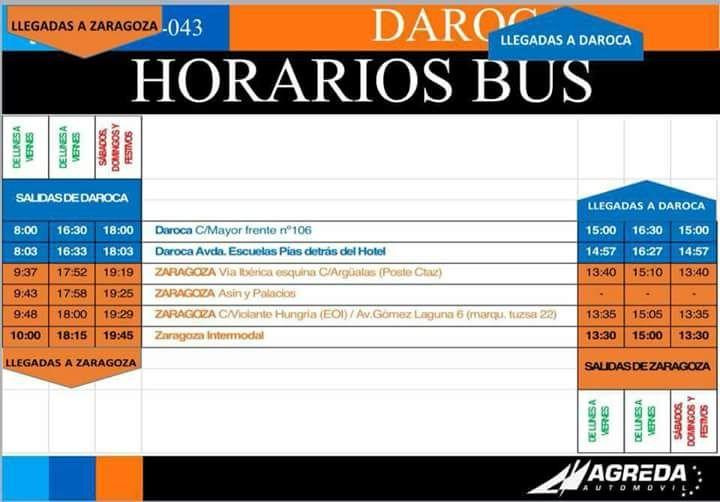 Horario servicios autobús. - Ayuntamiento de Daroca